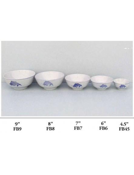 Fish' Rice Bowl 4.5&quot 蓝鱼企口碗