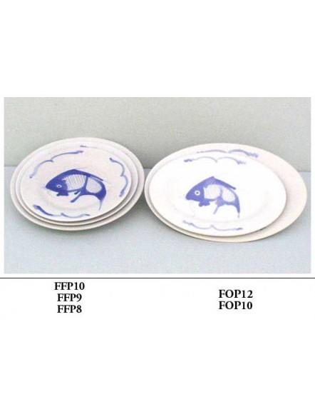 Fish' Oval Plate 10&quot 蓝鱼长碟