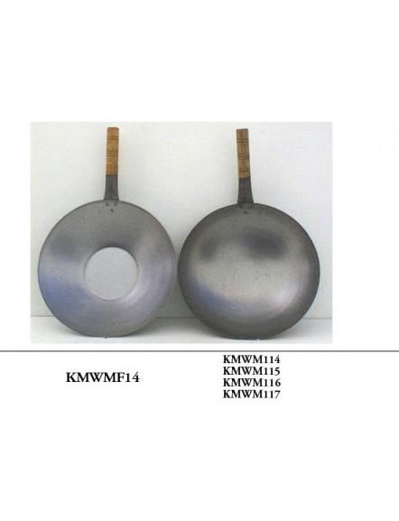 Iron Wok,1 handle F/B 14&quot,machine made 单柄平底铁镬