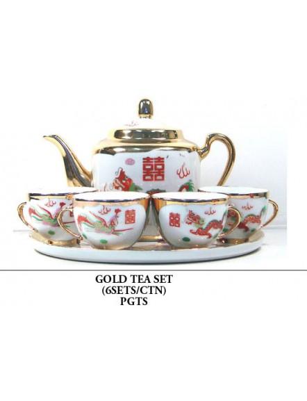 Gold Teaset 堆金龙凤茶具