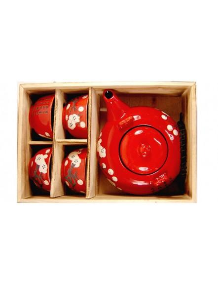 5 pcs Flower Red teaset 日式茶具