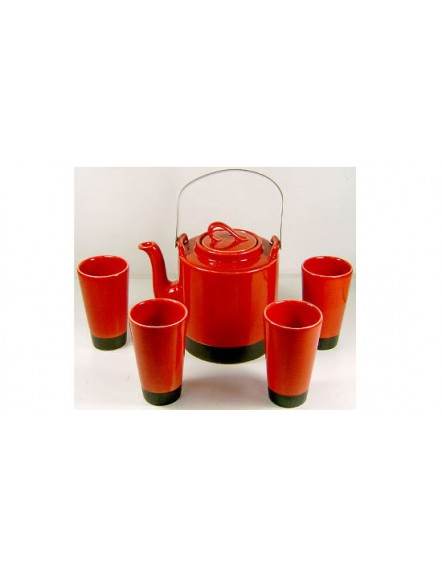 Japanese Tea Set- Red 5pcs 红色日式茶具
