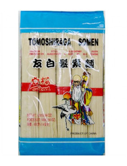 Tomoshiraga Somen 400g 樱花友白发面